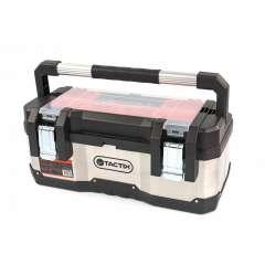 Tactix PROFI RVS gereedschapskoffer met uitneembare opbergbakjes